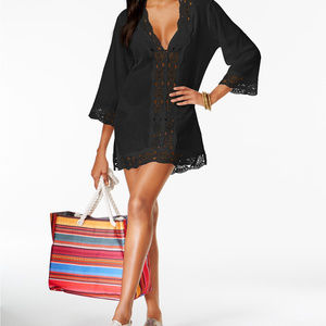 LA BLANCA Cover-Up Tunic, Black